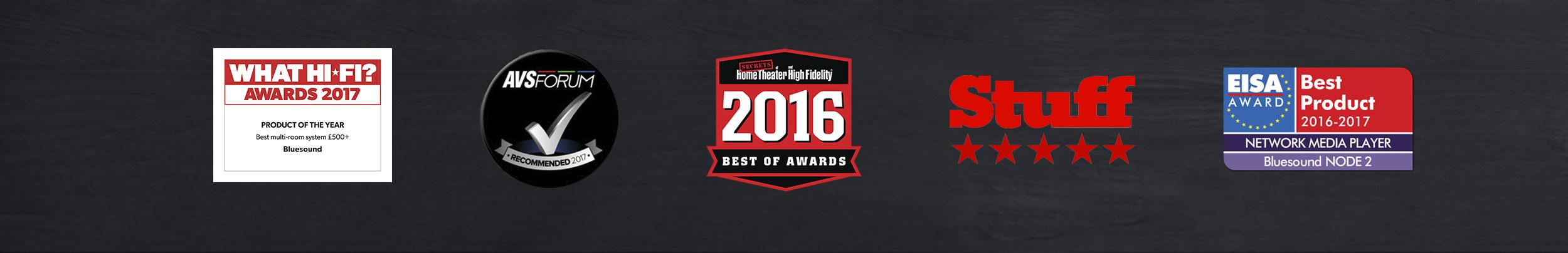 Logos of various awards won by Bluesound