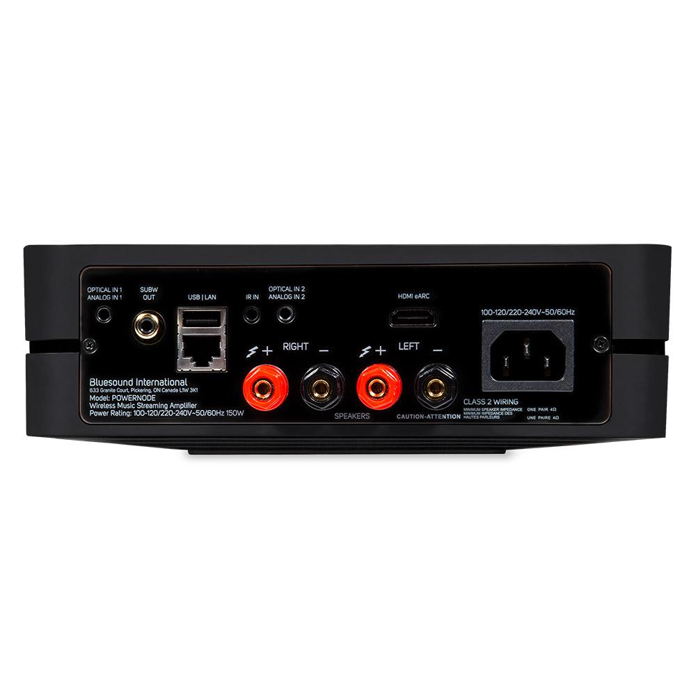 Black POWERNODE streaming amplifier, rear panel